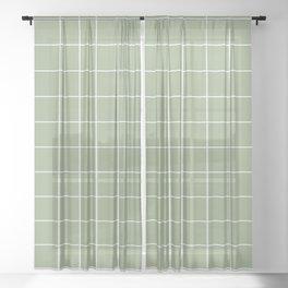 Grid Pattern Sage White 9AAB89 Stripe Line Minimal Stripes Lines Spring Summer Sheer Curtain