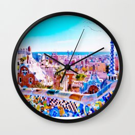 Park Guell Watercolor painting Wall Clock