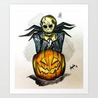 jack skellington Art Prints featuring Jack Skellington  by Aonerud