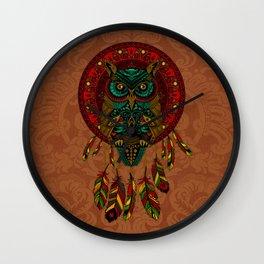 Colorful Dreamcatcher Owl Aztec Pattern Wall Clock