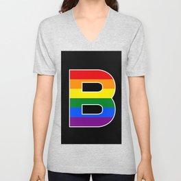 Letter B BI RAINBOW FLAG GAY PRIDE SEASON LGBT Unisex V-Neck