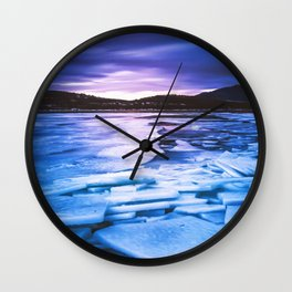 Lake Effect // Frozen Ice Water Sunset Mountain Landscape Photography Pink Purple Blue Clouds Wall Clock