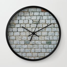 Wall of white bricks and other colors Wall Clock