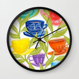 Tea Cups, Patterns, and Leaves Wall Clock
