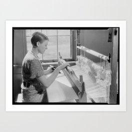 Alice McCarter, weaving a baby blanket Art Print