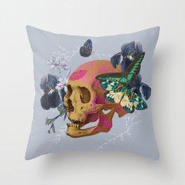 Gold Skull Butterfly Flower Black Jungle Throw Pillow