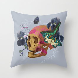 Gold Skull Butterfly Flower Throw Pillow