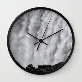 Roaring Dettifoss Waterfall in Iceland - Black and White Landscape Photography Wall Clock