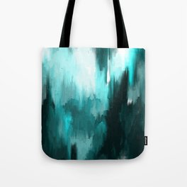 Ocean Water - an Aqua Blue Abstract painting with White Tote Bag