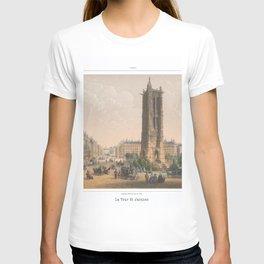 Paris art print Paris Decor office decoration vintage decor TOUR SAINT JACQUES of Paris T-shirt