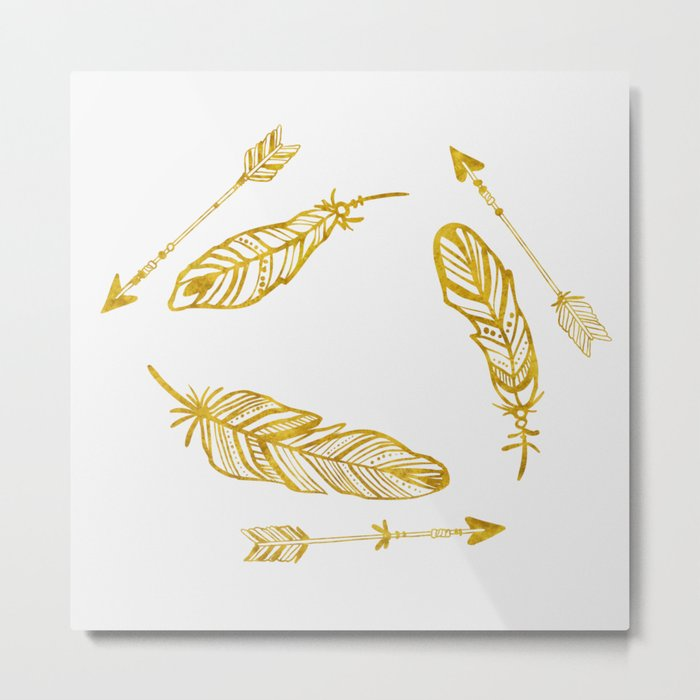 Golden Feathers and Arrows Metal Print