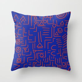 Red and Blue Abstract Geometric Symbolic Tribal Pattern  Throw Pillow