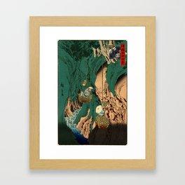 Hiroshige II - Kishu kumano iwatake tori - Shokoku meisho hyakkei Framed Art Print