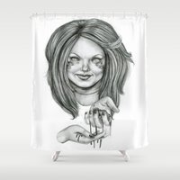 ginger Shower Curtains featuring Ginger by Taylor Bryn Illustration