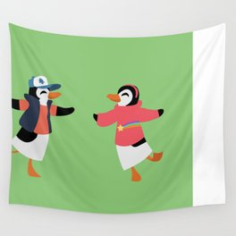Mystery Twins Penguins Wall Tapestry