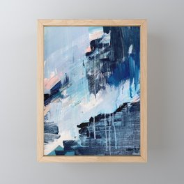 Vibes: an abstract mixed media piece in blues and pinks by Alyssa Hamilton Art Framed Mini Art Print