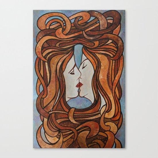 Lesbian Kiss (Art Nouveau Style) Canvas Print