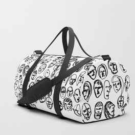Black and White Line Drawing Faces Duffle Bag