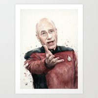 picard Art Prints featuring Annoyed Picard Meme  by Olechka