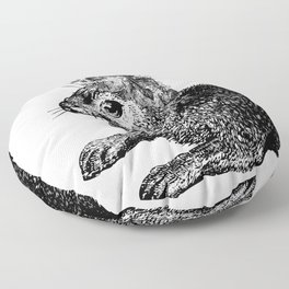 The Rabbit and Roses | Black and White Floor Pillow