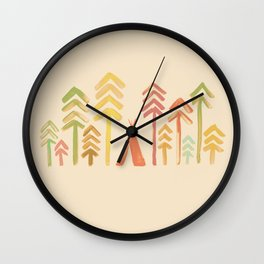Tepee in the forest Wall Clock