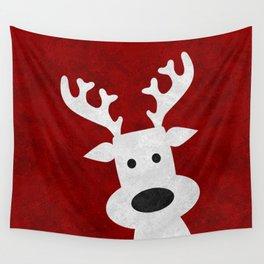 Christmas reindeer red marble Wall Tapestry