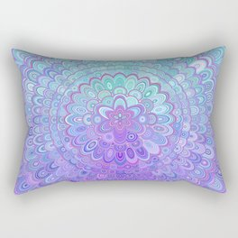 Mandala Flower in Light Blue and Purple Rectangular Pillow