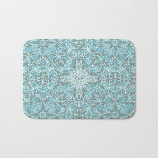 Soft Teal Blue & Grey hand drawn floral pattern Bath Mat