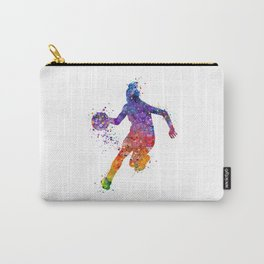 Girl Basketball Colorful Watercolor Sports Artwork Carry-All Pouch