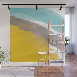 Watercolor Yellow Grey Blue Stripes Wall Mural