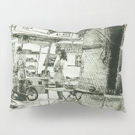 Malaysian Urban Street Scene Cultural Heritage Etching Drawing in Deep Green Pillow Sham