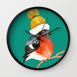 Christmas Bird Bullfinch Wall Clock