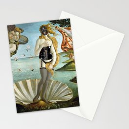 The 2nd Birth of Venus, Part Deux, in All Get-up satrical landscape painting by Sandro Botticelli Stationery Cards