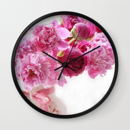 Romantic Pink and Red Peonies Wall Clock