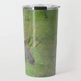 Rabbits In A Meadow Travel Mug