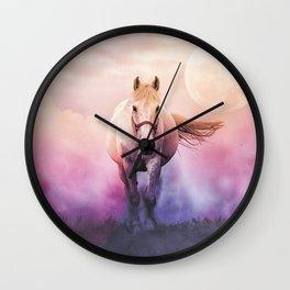 Romantic mystery horse illustration with full moon Wall Clock