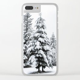 Winter Magic - Snow Covered Fir Trees Pacific Northwest Clear iPhone Case