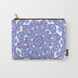 Lilac Spring Mandala - floral doodle pattern in purple & white Carry-All Pouch