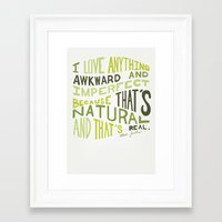 marc jacobs Framed Art Prints featuring I Love Anything Awkward and Imperfect Because That's Natural and That's Real - Marc Jacobs by One Curious Chip