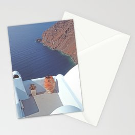 Overlooking The Ocean - Santorini Greek Island Stationery Cards