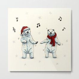 The polar bears wish you a Merry Christmas Metal Print