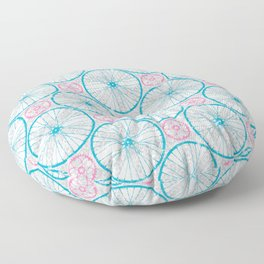 For the Love of Cycling Pattern - Grey Blue Pink Floor Pillow