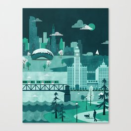 Chicago Travel Poster Illustration Canvas Print