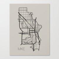 milwaukee Canvas Prints featuring Milwaukee by linnydrez