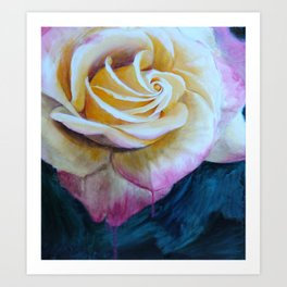 Pink and Yellow Rose painting Art Print