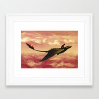 hiccup Framed Art Prints featuring Flying - Hiccup and Toothless by BBANDITT