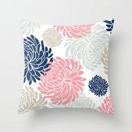 Floral Pattern Chrysanthemum, Blush Pink, Navy Blue Throw Pillow