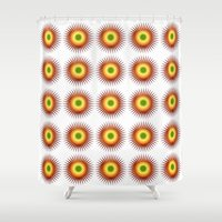 techno Shower Curtains featuring techno abstract by laika in cosmos