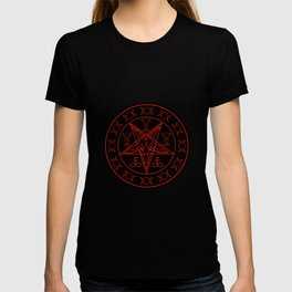 Wiccan symbols- Cross of Sulfur, Triple Goddess, Sigil of Baphomet and Lucifer T-shirt
