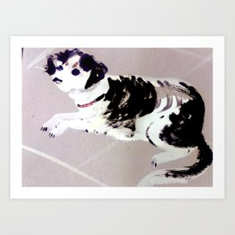 Dog in the street waiting for his master (c) 2017 Art Print